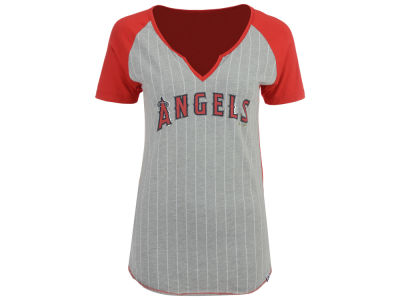 Los Angeles Angels Majestic MLB Women's From The Stretch Pinstripe T-Shirt