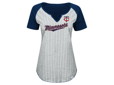 Minnesota Twins Majestic MLB Women's From The Stretch Pinstripe T-Shirt
