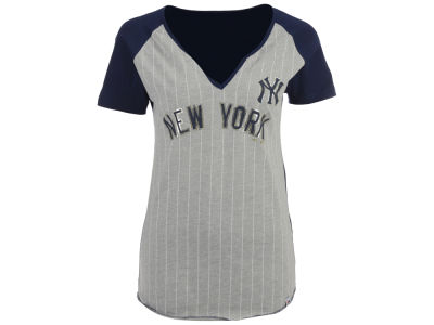 New York Yankees Majestic MLB Women's From The Stretch Pinstripe T-Shirt