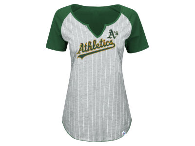Oakland Athletics Majestic MLB Women's From The Stretch Pinstripe T-Shirt