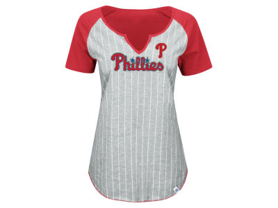 Philadelphia Phillies Majestic MLB Women's From The Stretch Pinstripe T-Shirt