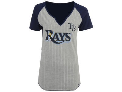 Tampa Bay Rays Majestic MLB Women's From The Stretch Pinstripe T-Shirt