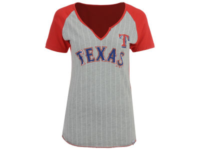 Texas Rangers Majestic MLB Women's From The Stretch Pinstripe T-Shirt