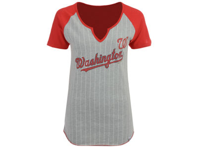Washington Nationals Majestic MLB Women's From The Stretch Pinstripe T-Shirt