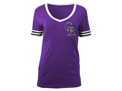 Colorado Rockies 5th & Ocean MLB Women's Retro V-Neck T-Shirt