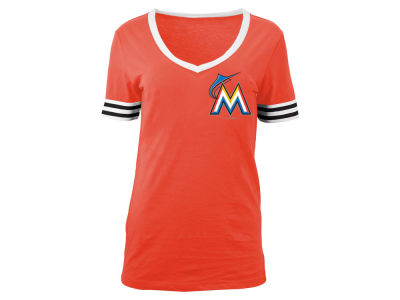 Miami Marlins 5th & Ocean MLB Women's Retro V-Neck T-Shirt