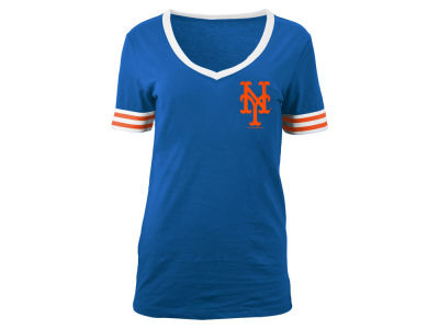 New York Mets 5th & Ocean MLB Women's Retro V-Neck T-Shirt