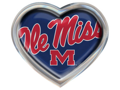 Ole Miss Rebels Heart Metal Auto Emblem