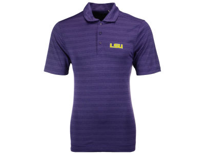 LSU Tigers Cutter & Buck NCAA Men's Interbay Melange Stripe Chromaflex Polo Shirt