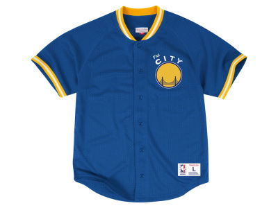 Golden State Warriors Mitchell and Ness NBA Men's Seasoned Pro Mesh Button Front Jersey