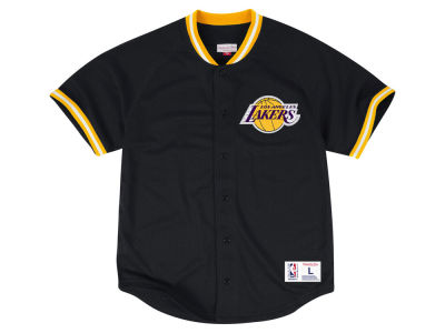 Los Angeles Lakers Mitchell and Ness NBA Men's Seasoned Pro Mesh Button Front Jersey