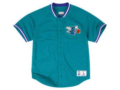Charlotte Hornets Mitchell and Ness NBA Men's Seasoned Pro Mesh Button Front Jersey