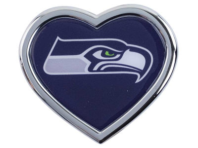 Seattle Seahawks Heart Metal Auto Emblem