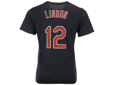 Cleveland Indians Francisco Lindor Majestic MLB Men's Triblend Jersey Player T-Shirt
