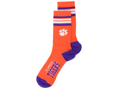 Clemson Tigers For Bare Feet 4 Stripe Deuce Crew 504 Sock