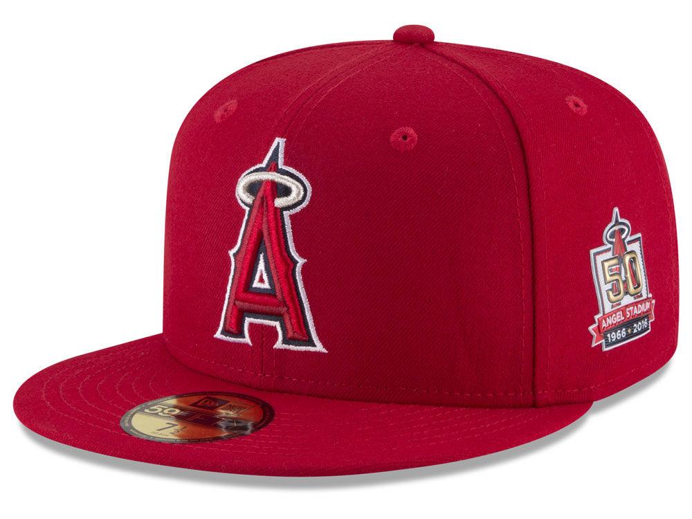 Los Angeles Angels New Era 2016 MLB 50th Anniversary Patch 59FIFTY Cap  7db4e557373f