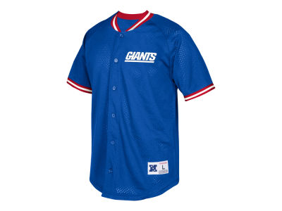 New York Giants Mitchell & Ness NFL Men's Seasoned Pro Mesh Button Front Shirt