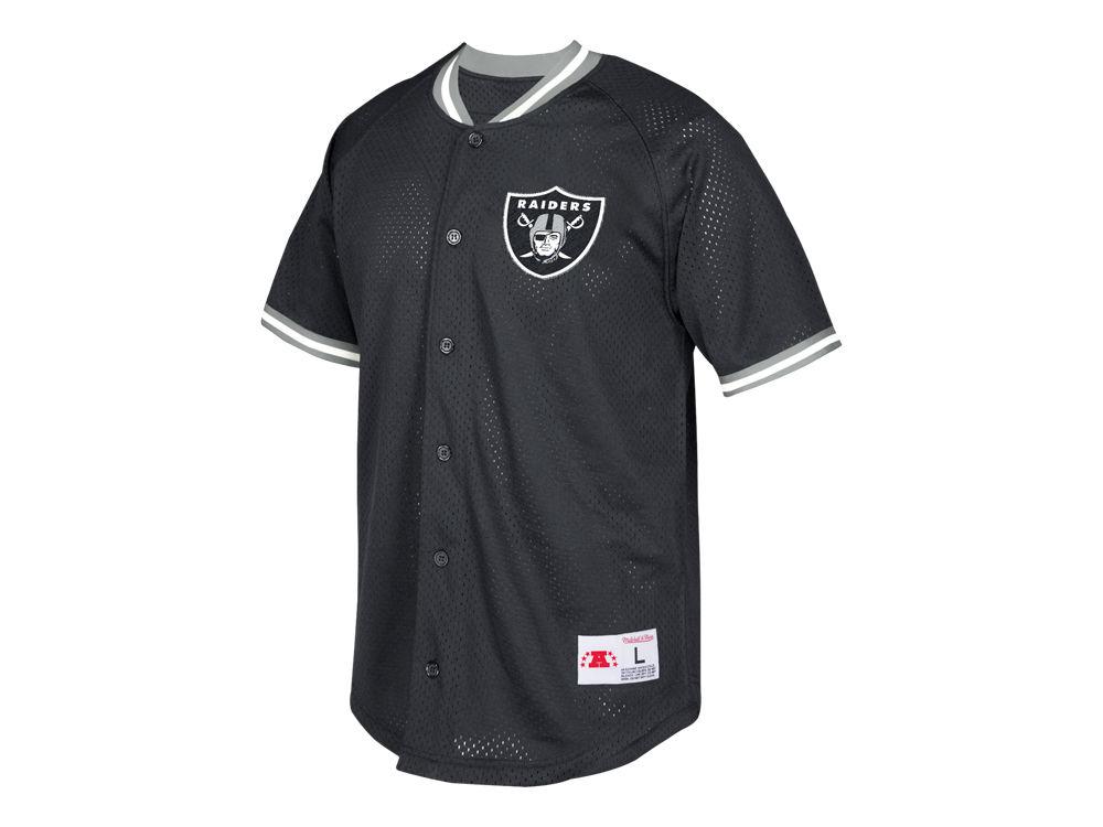 Oakland Raiders Mitchell   Ness NFL Men s Seasoned Pro Mesh Button Front  Shirt  d7ab7ee37