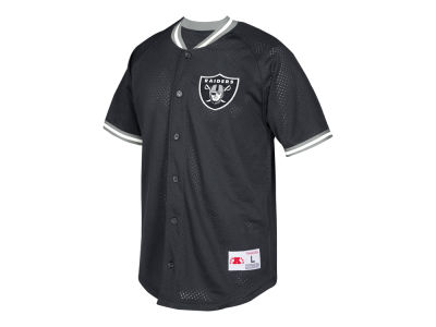 Oakland Raiders Mitchell & Ness NFL Men's Seasoned Pro Mesh Button Front Shirt