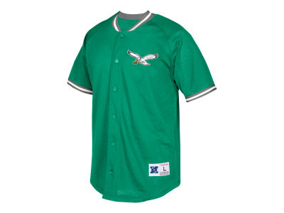 Philadelphia Eagles Mitchell & Ness NFL Men's Seasoned Pro Mesh Button Front Shirt