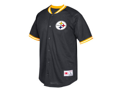 Pittsburgh Steelers Mitchell & Ness NFL Men's Seasoned Pro Mesh Button Front Shirt