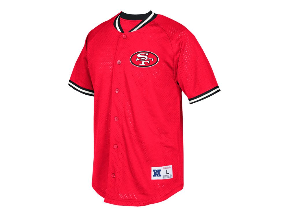 San Francisco 49ers Mitchell   Ness NFL Men s Seasoned Pro Mesh Button  Front Shirt  87f7b3fbf