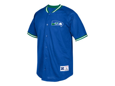 Seattle Seahawks Mitchell & Ness NFL Men's Seasoned Pro Mesh Button Front Shirt
