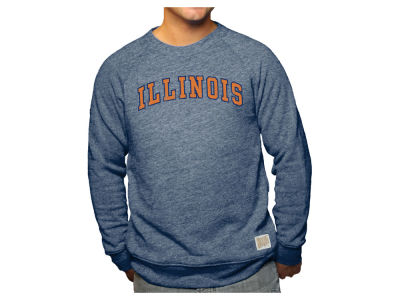 Illinois Fighting Illini Retro Brand NCAA Men's Tri-Blend Crew Sweatshirt