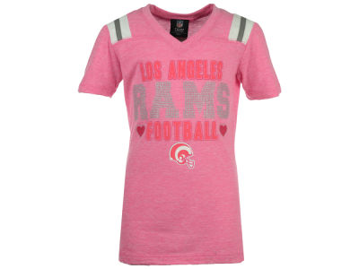 Los Angeles Rams 5th & Ocean NFL Youth Girls Pink Heart Football T-Shirt