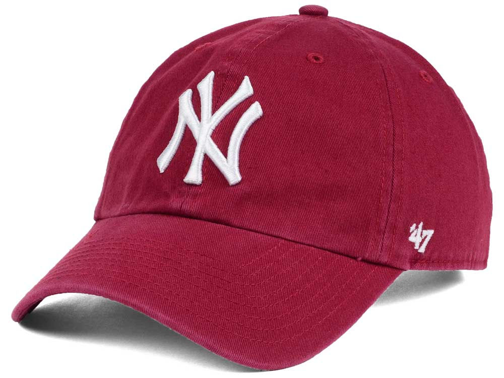 New York Yankees  47 MLB Cardinal and White  47 CLEAN UP Cap 2619749597a
