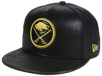 Buffalo Sabres New Era NHL Crackled Leather 9FIFTY Snapback Cap