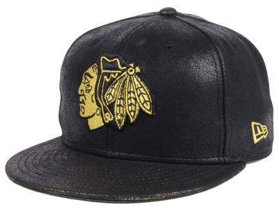 Chicago Blackhawks New Era NHL Crackled Leather 9FIFTY Snapback Cap