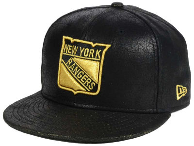 New York Rangers New Era NHL Crackled Leather 9FIFTY Snapback Cap