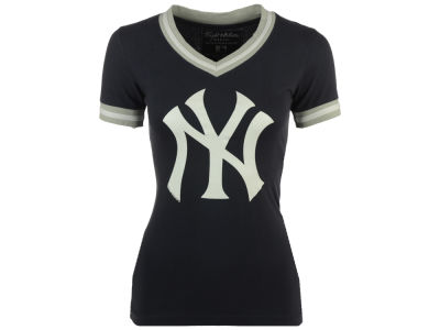 New York Yankees Red Jacket MLB Women's Eephus Vneck T-Shirt