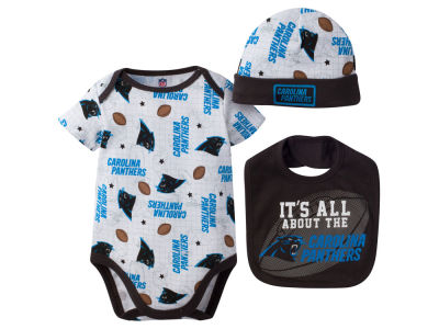 Carolina Panthers NFL Newborn 3 Pc Set Bib and Cap Set