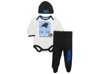 Carolina Panthers NFL Newborn Bodysuit Footed Pant Cap Set