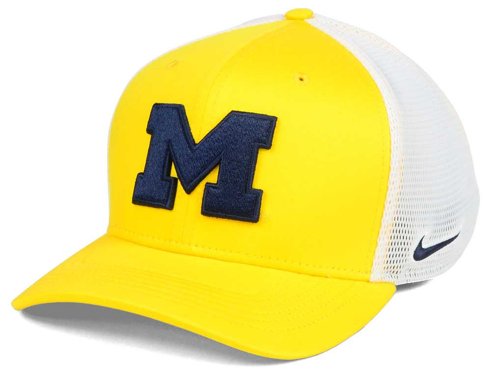 detailed look 0604c 63c89 sale michigan wolverines nike ncaa aero bill mesh swooshflex cap 60d29 01ee5