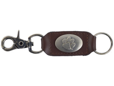 Clemson Tigers Leather Medallion Keychain