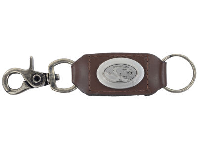 Missouri Tigers Leather Medallion Keychain