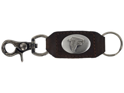 Atlanta Falcons Leather Medallion Keychain