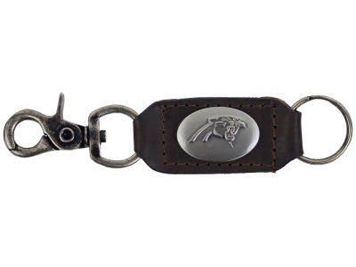 Carolina Panthers Leather Medallion Keychain