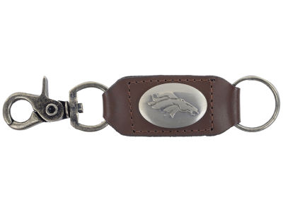 Denver Broncos Leather Medallion Keychain