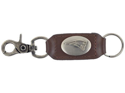 New England Patriots Leather Medallion Keychain