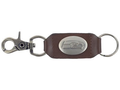 Seattle Seahawks Leather Medallion Keychain