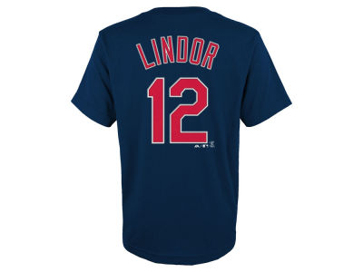 Cleveland Indians Francisco Lindor Majestic MLB Youth Official Player T-Shirt