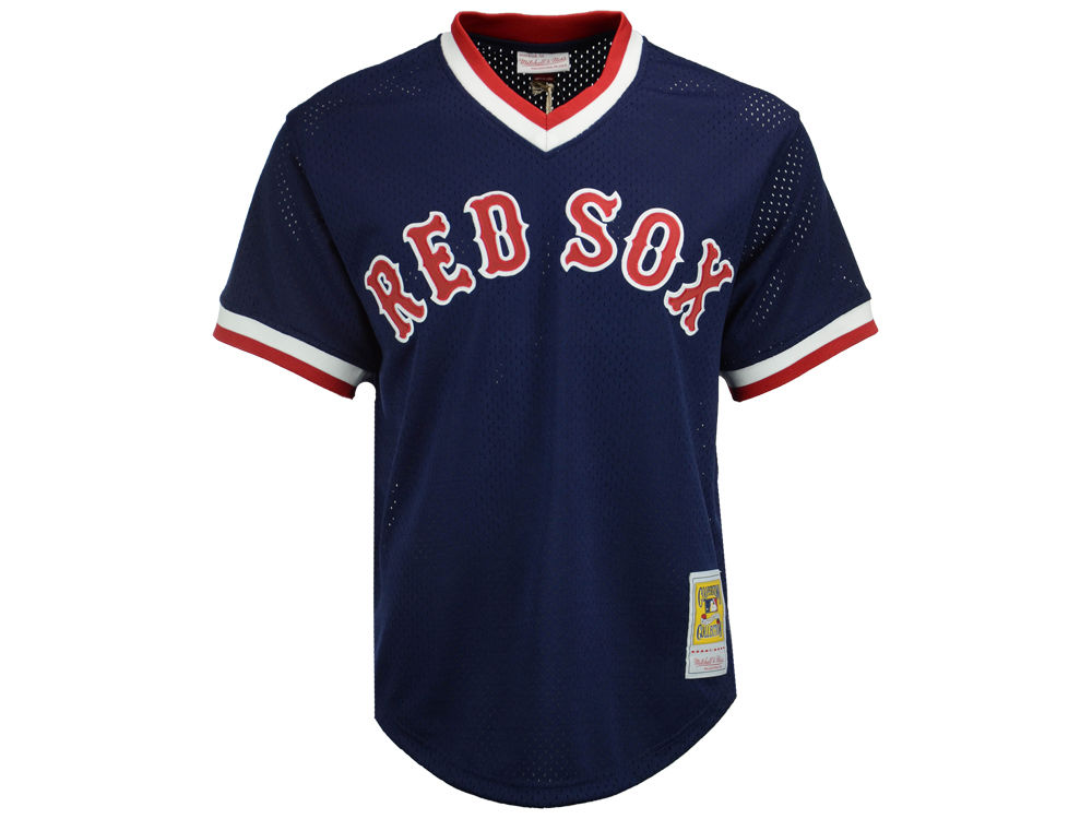 Boston Red Sox Ted Williams Mitchell   Ness MLB Men s Authentic Mesh  Batting Practice V-Neck Jersey  a999c4bf1