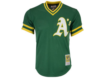 Oakland Athletics Reggie Jackson Mitchell and Ness MLB Men's Authentic Mesh Batting Practice V-Neck Jersey