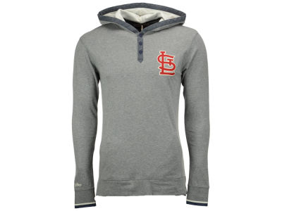 St. Louis Cardinals Mitchell and Ness MLB Men's Seal The Win Hooded Long Sleeve T-Shirt