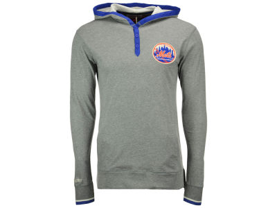 New York Mets Mitchell and Ness MLB Men's Seal The Win Hooded Long Sleeve T-Shirt