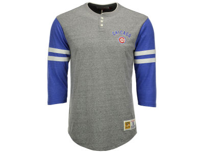 Chicago Cubs Mitchell and Ness MLB Men's Home Stretch Henley T-shirt
